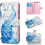 [Light Spot Decor] Patterned Leather Stand Flip Case for Huawei P30 – Peacock