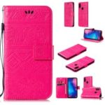 Imprinted Elephant Leather Case Wallet Stand Cover for Xiaomi Redmi Note 7 / Note 7 Pro (India) – Rose