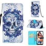 Pattern Printing Light Spot Decor Stand Leather Wallet Cover for Xiaomi Redmi Note 7 / Redmi Note 7 Pro (India) – Flowered Skull