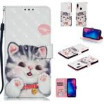 Pattern Printing Light Spot Decor Leather Wallet Case for Xiaomi Redmi Note 7 / Note 7 Pro (India) – Adorable Cat