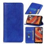 Auto-absorbed Litchi Texture Split Leather Stand Wallet Cover Case for OnePlus 7 – Blue
