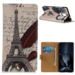 Pattern Printing Leather Wallet Case for Nokia 4.2 – Eiffel Tower and Characters