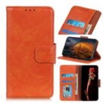 Nappa Textured Split Leather Wallet Magnetic Case for Nokia 1 Plus – Orange