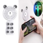 HAT PRINCE Portable Handheld Foldable Rechargeable Personal Fan with Suction Cup and LED Light – Dark Grey