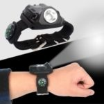 Dimmable Wristband LED Light with Detachable Compass for Camping, Night Run, Riding