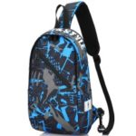 Men Chest Bag Oxford Shoulder Strap Bag Casual Sports Backpack Messenger Bag – Inclined Zipper / Blue Gray Graffiti