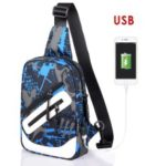 Men Oxford Casual Chest Messenger Sling Crossbody Shoulder Bag USB Charging Hole – Blue Gray Graffiti