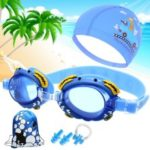 Kids Goggles Swimming Goggles Cap Boys Girls Swimming Pool Set – Blue