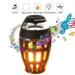S1 Bluetooth Speaker USB LED Flame Lights Outdoor Portable LED Flame Atmosphere Lamp Stereo Speaker – Black