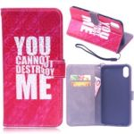 Laser Carving Pattern Printing Wallet Leather Case with Strap for iPhone X / XS 5.8 inch – You Can Not Destroy Me