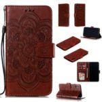 For iPhone XS Max Imprint Mandala Flower Leather Wallet Case Phone Cover – Brown