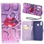 Laser Carving Pattern Printing Wallet Leather Case with Strap for Samsung Galaxy M20 – Red Lip