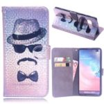 Laser Carving Pattern Printing Wallet Leather Case with Strap for Samsung Galaxy S10 Plus – Gentleman