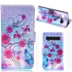 Laser Carving Pattern Printing Wallet Leather Case with Strap for Samsung Galaxy S10 5G – Flower and Butterfly