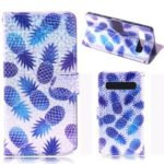 Laser Carving Pattern Printing Wallet Leather Case with Strap for Samsung Galaxy S10 5G – Pineapple
