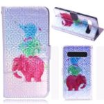 Laser Carving Pattern Printing Wallet Leather Case with Strap for Samsung Galaxy S10 5G – V