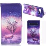 Laser Carving Pattern Printing Wallet Leather Case with Strap for Samsung Galaxy S10 5G – Deer