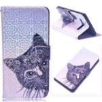Laser Carving Pattern Printing Wallet Leather Case with Strap for Samsung Galaxy S10 5G – Cat