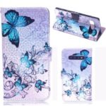 Laser Carving Pattern Printing Wallet Leather Case with Strap for Samsung Galaxy S10 – Blue Butterfly
