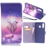 Laser Carving Pattern Printing Wallet Leather Case with Strap for Samsung Galaxy A30 / A20 – Deer