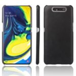 Crazy Horse PU Leather Coated Plastic Case for Samsung Galaxy A80 – Black