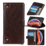 Nappa Texture Wallet Stand Leather Phone Cover for Samsung Galaxy A60 – Coffee