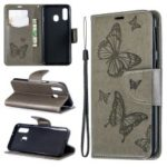For Samsung Galaxy A40 PU Leather Imprint Butterflies Phone Case – Grey
