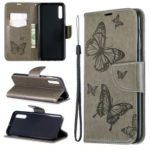 For Samsung Galaxy A50 PU Leather Imprint Butterflies Phone Case – Grey