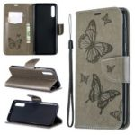 For Samsung Galaxy A70 PU Leather Imprint Butterflies Phone Case Butterflies Phone Case – Grey