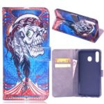 Laser Carving Pattern Printing Wallet Leather Case with Strap for Samsung Galaxy M30 – Tribal Feather Skull