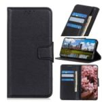 Litchi Skin Leather Case Wallet Stand Phone Cover for Samsung Galaxy M20 – Black