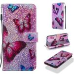 Pattern Printing Glitter Sequins Leather Wallet Case for Samsung Galaxy A40 – Butterfly