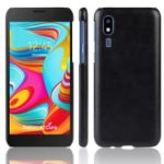 Litchi Texture PU Leather Coated Hard PC Cover Shell for Samsung Galaxy A2 Core – Black