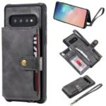 PU Leather Coated TPU Case Wallet Kickstand Case for Samsung Galaxy S10 – Grey