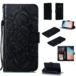 For Samsung Galaxy S10 Plus Imprint Mandala Flower Leather Wallet Case Phone Cover – Black