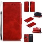 Leather Wallet Stand Phone Case for Samsung Galaxy A40 – Red