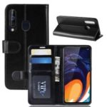 Crazy Horse Wallet Leather Stand Case for Samsung Galaxy A60 – Black