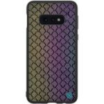 NILLKIN Dazzling PU Leather + PC + TPU Phone Case Cover for Galaxy S10e – Purple / Gold