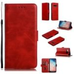 Leather Wallet Stand Flip Phone Case Cover for Samsung Galaxy S10 Plus – Red