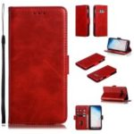 Leather Wallet Stand Flip Phone Case Cover for Samsung Galaxy S10e – Red
