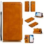 Leather Wallet Stand Flip Phone Case Cover for Samsung Galaxy S10e – Brown