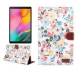 Floral Printed Cloth + PC Wallet Stand Tablet Case for Samsung Galaxy Tab A 10.1 (2019) T510/T515 – White Flowers
