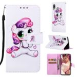 Pattern Printing Wallet Leather Stand Case for Samsung Galaxy A40 – Lovely Unicorn