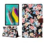 Flower Cloth Skin PU Leather Wallet Stand Cover for Samsung Galaxy Tab S5e SM-T720 / T725  – Black