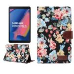 Floral Printed Cloth + PC Wallet Stand Tablet Case for Samsung Galaxy Tab A 8 (2019) – Black