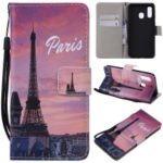 Pattern Printing Leather Wallet Case for Samsung Galaxy A40 – Eiffel Tower