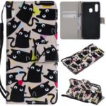 Pattern Printing Wallet Stand Leather Cover for Samsung Galaxy A40 – Cat