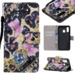 Light Spot Decor Patterned Leather Wallet Case for Samsung Galaxy A40 – Elegant Butterfly