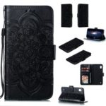 For Samsung Galaxy A10 Imprint Mandala Flower Phone Cover Case Leather Wallet – Black