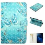 3D Embossed Leather Wallet Tablet Case for Samsung Galaxy Tab A 10.1 (2016) T580 / T585 – Crystal Butterfly